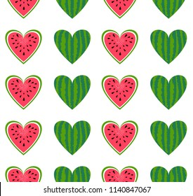 Watermelon seamless pattern. Vector background for summer. Food texture. Sliced fruit, red and green heart of watermelon. For t-shirt print design, bag, textil.