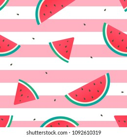 Watermelon Seamless Pattern Vector illustration. watermelon slices on pink and white stripes background.