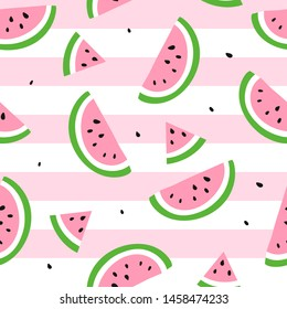 Watermelon seamless pattern. Vector illustration. Watermelon slices on pink and white stripes background