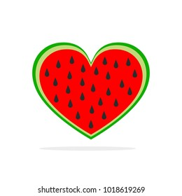 Watermelon in the shape of heart. Vector illustration. Watermelon in flat design isolated
