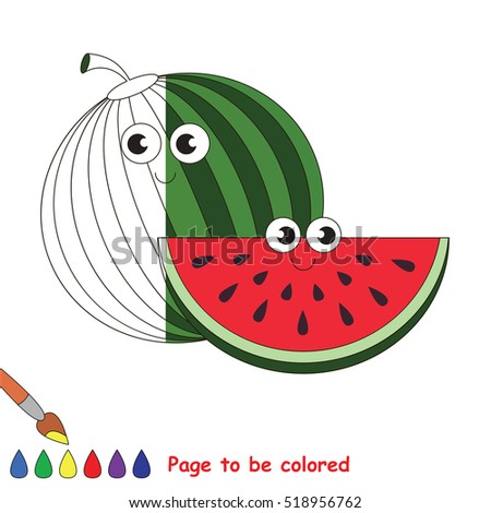 Watermelon Slice Be Colored Coloring Book Stock Vector Royalty Free