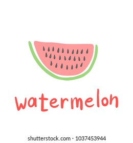 Watermelon Slice Cartoon Flat Style Vector Illustration Isolated on White Background