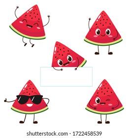 Watermelon slice character with funny face. Happy cute cartoon watermelon emoji set. Healthy vegetarian food character vector illustration