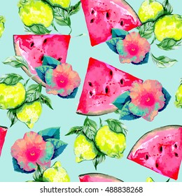 Watermelon slice, lemon, leaves, tropical flowers, hibiscus, seamless vector pattern, summer background, watercolor style