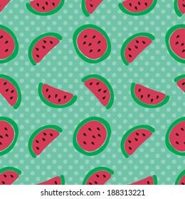 Watermelon slice seamless pattern. Vector illustration