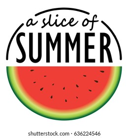 Watermelon slice with summer quote
