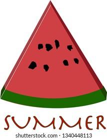 A watermelon slice vector, illustration