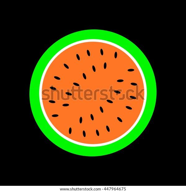 Watermelon slice, vector illustration.
