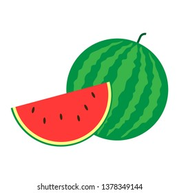 The watermelon and Sliced of watermelon isolated on white background. Design by Inkscape.