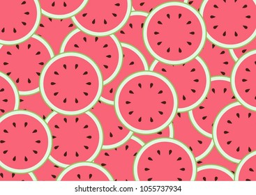 Watermelon slices decorative background. colourful summer bright tropical fruit pattern design.