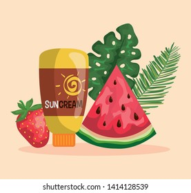 watermelon and strawberry fruits with suncream and leaves