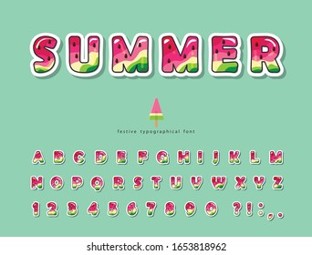 Watermelon summer trendy font. Cartoon decorative paper cut out alphabet. Cute funny letters and numbers. For poster, banner, T-shirt, brochure design. Vector illustration