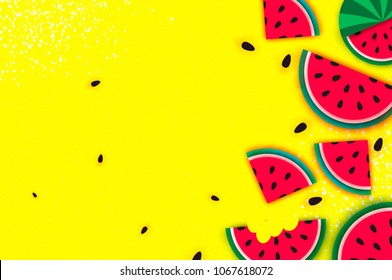 Watermelon Super Summer Sale Banner in paper cut style. Origami juicy ripe watermelon slices. Healthy food on yellow. Square frame for text. Summertime.