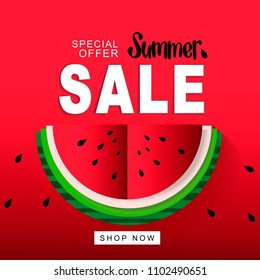 Watermelon Super Summer Sale Banner in Paper Cut Style for Advertisement, Banner, Web-design, Poster. Origami Juicy Ripe Watermelon Slices. Healthy Food. Summertime