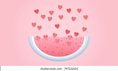 Watermelon for Valentine's Day. Heart balloons floating up from watermelon slices. vector, illustration.