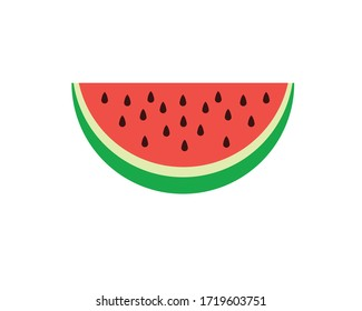 Watermelon vector, simple, flat design style, half watermelon.