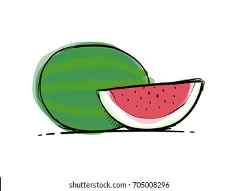 Watermelon watercolor hand drawn illustration. Isolated on white background.