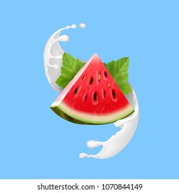 Watermelon in yogurt or milk vector realistic illustration icon