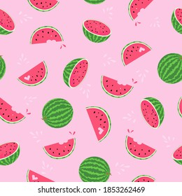 Watermelons pink flat vector seamless pattern. Summer fruit splash of colours background. Quarter shape, seeds texture. Tropical sweet food ornament for print, paper, textile, fabric design