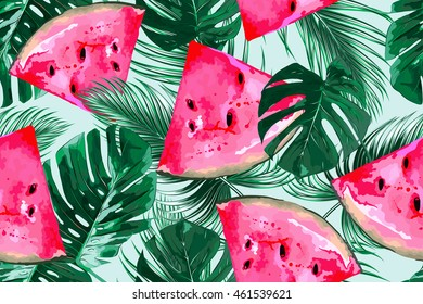 Watermelons, tropical palm leaves, seamless vector floral pattern, summer background