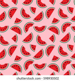 watermelons, whole and bitten chunks, small and large slices evenly placed, around the pattern. Cute red watermelon slice design, seamless wallpaper, background, Color backdrop.