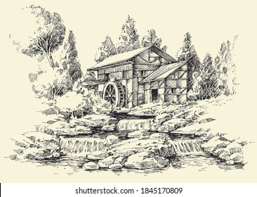 Watermill and river idyllic landscape hand drawing