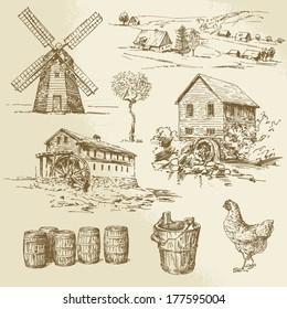 watermill and windmill - hand drawn illustration