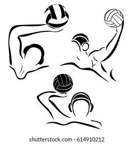 Water-polo player. Water polo vector image. Gate, swimmer, ball isolated on white background. Set minimalistic black sign.  Emblem or logo for swimming pool, sports shop, competition.