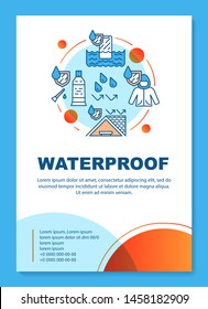 Waterproof building materials, coating brochure template layout. Flyer, booklet, leaflet print design with linear illustrations. Vector page layouts for magazines, annual reports, advertising posters