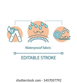 Waterproof fabric concept icon. Water resistant textile, hydrophobic coating idea thin line illustration. Moisture proof covering substances. Vector isolated outline drawing. Editable stroke