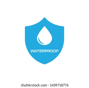 Waterproof Icon, Blue and White Design