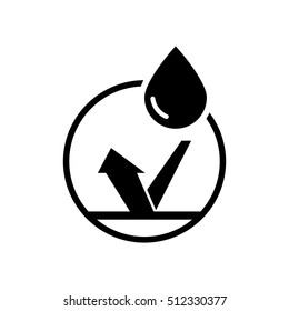 Waterproof icon, water protection label sticker logo