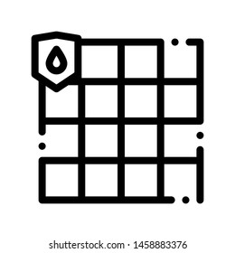 Waterproof Material Dalle Vector Thin Line Icon. Waterproof Material Ceramic Tile, Industrial Use Tilework Linear Pictogram. Clothes, Moisture Absorbing Substance Contour Illustration