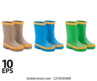 Waterproof rain rubber boots set. Realistic Vector 3d illustration of colored rain boots.