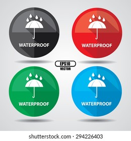 Waterproof  stickers and labels set, umbrella with rain symbol on white background - Vector