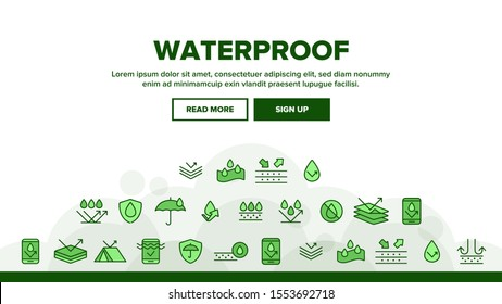 Waterproof, Water Resistant Materials Landing Web Page Header Banner Template Vector. Waterproof, Surface Protection Outline Cliparts. Hydrophobic Fabric Illustration
