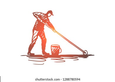 Waterproofing, drop, protection, wet, surface concept. Hand drawn repairman making a waterproof surface concept sketch. Isolated vector illustration.