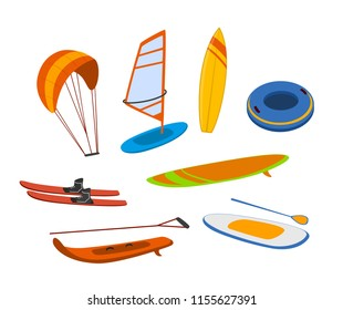 watersport items, surfboards, tubes, windsurfing water ski wakeboard kite, paddleboard graphics set