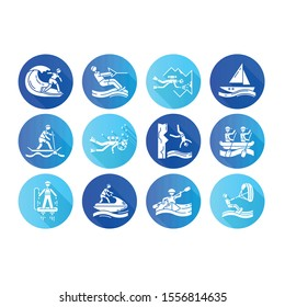 Watersports flat design long shadow glyph icons set. Cave diving, kiteboarding, flyboarding and jet skiing. Cliff jumping and paddle surfing. Extreme kinds of sport. Vector silhouette illustration