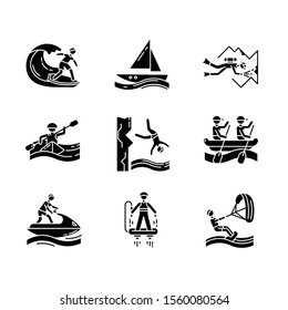 Watersports glyph icons set. Silhouette symbols. Cave diving, surfing, flyboarding and sailing. Cliff diving, kayaking and windsurfing. Extreme kinds of sports. Vector isolated illustration