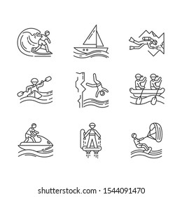 Watersports linear icons set. Cave diving, surfing, flyboarding and sailing. Extreme kinds of sports.Thin line contour symbols. Isolated vector outline illustrations. Editable stroke