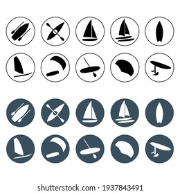 Watersports round icons set. Surfing, kiteboarding, windsurfing, sailboat, catamaran, hydrofoil, kayaking, foil wing, boat and sup boarding. Extreme kinds of sports signs and symbols collection.