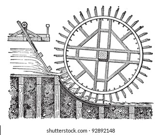 Waterwheel plane float, vintage engraved illustration. Dictionary of words and things - Larive and Fleury - 1895.