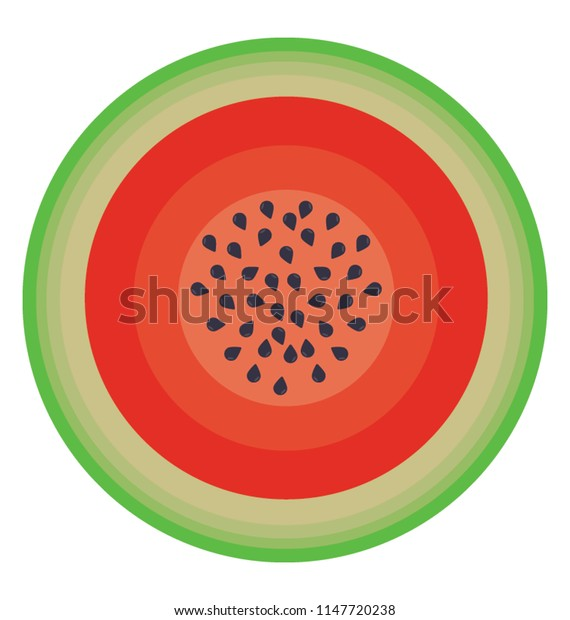 Watery and juicy summer fruit in round shape depicting watermelon