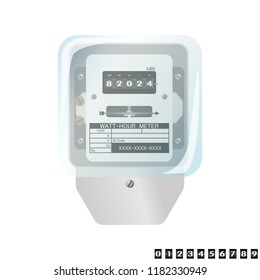 WATT Hour Meter electricity isolated Flat design on white background
