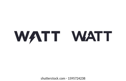 Watt word for electric logo vector editable