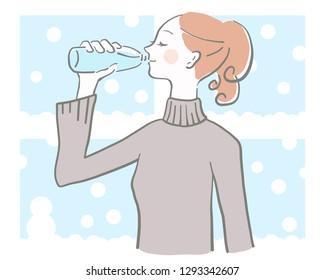 watwe drinks woman winter