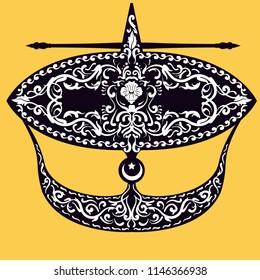 Wau Bulan.Moon kite vector hand drawn symbol malaysia.