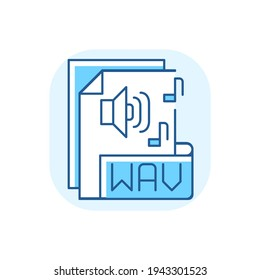 WAV file blue RGB color icon. Waveform audio file format. Storing data in segments. Uncompressed lossless audio. Maximum quality music. Waveform data. RIFF chunks. Isolated vector illustration