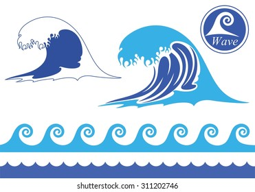 Wave abstract. Isolated wave on white background
